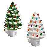 Fox Valley Traders Green and White Ceramic Tree Night Lights Set of 2