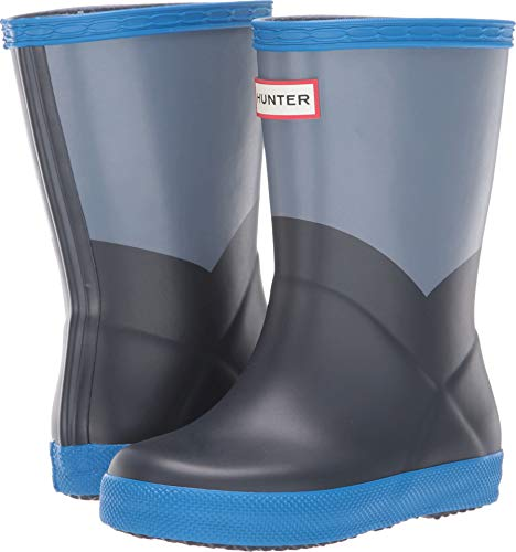 (Hunter Kids Unisex Original Kids' First Classic Rain Boot (Toddler/Little Kid) Gull Grey/Bucket Blue/Navy 11 M US Little Kid )