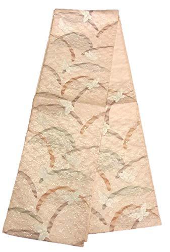 不純なしでアイデアリサイクル 袋帯 夏物 紋紗 芝文に蝶