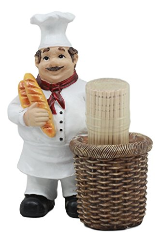 Ebros Pastry Head Chef Jean Holding Baquette Bread With Faux Wicker Basket Toothpick Holder -