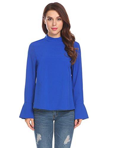 Stand Collar Ruffle Shirt (Zeagoo Women's Elegant Stand Collar Ruffle Bell Long Sleeve Office Blouse Shirt (S, Royal Blue))