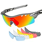 Tsafrer Polarized Sports Sunglasses with 6 Interchangeable Lenses, Tr90 Unbreakable Sunglasses for Men Women Cycling Driving Running Golf