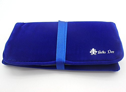 Bella Dee Jewelry Travel Roll Up VELVET Organizer Accessory Bag with Compartments-Soft Dark Blue (Satin Ribbons Jewellery Pouch)