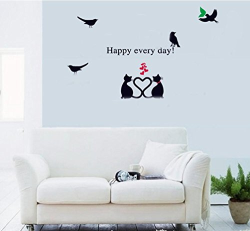 BIBITIME Black Cat Couple Tails Heart Wall Decal Green Leaves Birds Sayings Happy every day Quotes Sticker for Valentine's Day Bedroom Vinyl Decorations