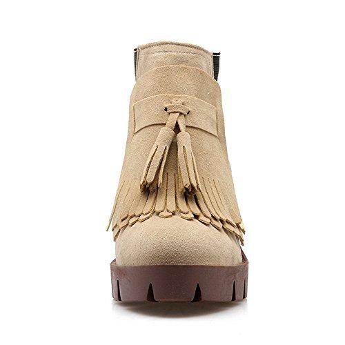 Heels Ornamented Imitated Chunky Suede Beige Boots Girls Tassels Cow AdeeSu xqUwATU