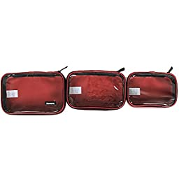 Damero Clear 3pcs/set Travel Carry Bag / Electronic Accessories Organizer / Packing Cubes (Wine Red)