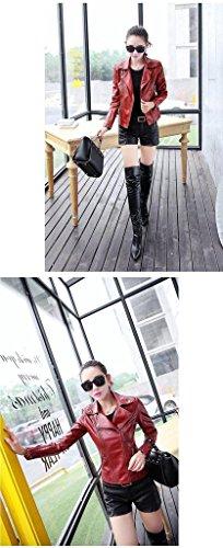 Manteau Bigood Moto Chaud Hiver Cuir Faux Blouson Bordeaux Veste Zip Femme rXwpnHZWX