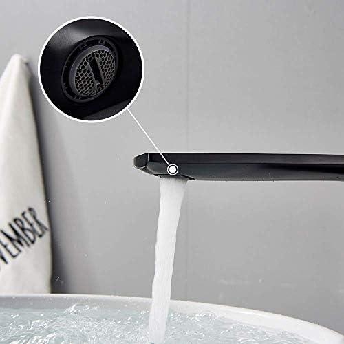 ZJN-JN 蛇口 流域水栓デッキの取付け浴室の蛇口シングルハンドルシンクミキサーお湯と水クレーンタップバニティ蛇口ミキサータップ327 * 200mmのブラックブロンズ 台付