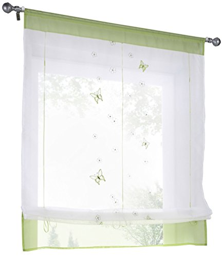 HomeyHo Butterfly Curtains For Kitchen Windows Sheer Curtain Kitchen Window Curtains Window Curtains Sheer Pattern Embroidered Curtain Sheers Butterfly Curtain Fabric Sheer, 31 x 39 Inch, Green