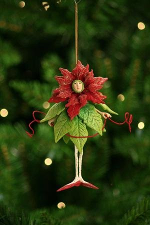 Krinkles Christmas Decorations - Patience Brewster Poinsettia Girl Ornament - Krinkles Christmas Décor New 08-30385