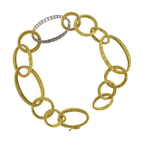 Pld .55 18 carats Diamant W et Y texturé-JewelryWeb maillons