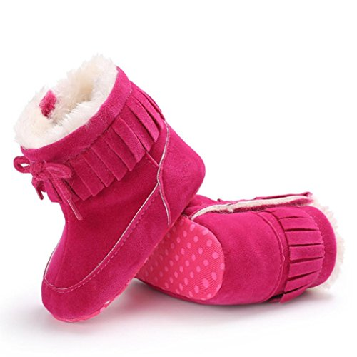 Xshuai Baby Junge Mädchen Sole Snow Anti-Rutsch-Design Stiefel Soft Crib Soft Material Schuhe Kleinkind Stiefel (0-18 Monate Weiß / Schwarz / Rosenrot / Blau / Orange / Rosa) Rosenrot
