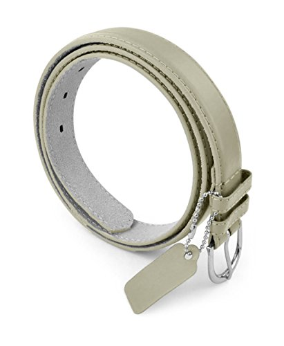 Womens Chic Dress Belt Bonded Leather Polished Buckle - Dark Gray X-Large