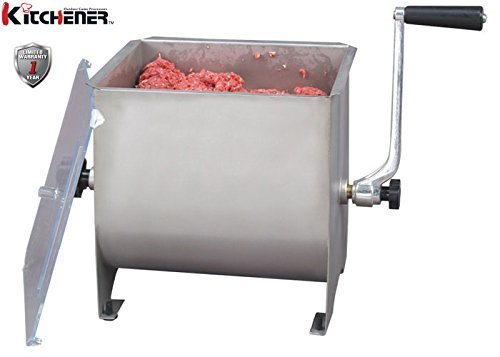 Kitchener Elite Stainless Steel Manual Meat Mixer Hand Crank 4.2 Gallon/16L Max 17.6 LBS Pounds Capacity Heavy Duty Commercial Food Grade w/ 4 Removable Mixing Paddles & Clear Lid for Seasoning Meat