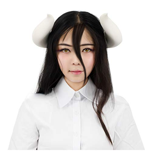 C-ZOFEK Overlord Albedo Cosplay Costume Wig Purple mix Black Hair/Horns Clip (Horns) ()