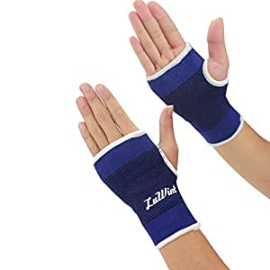 Luwint Breathable Compression Hand Palm Wrist Brace Support, Set of 2, One Size Fits Medium/ Large, Blue