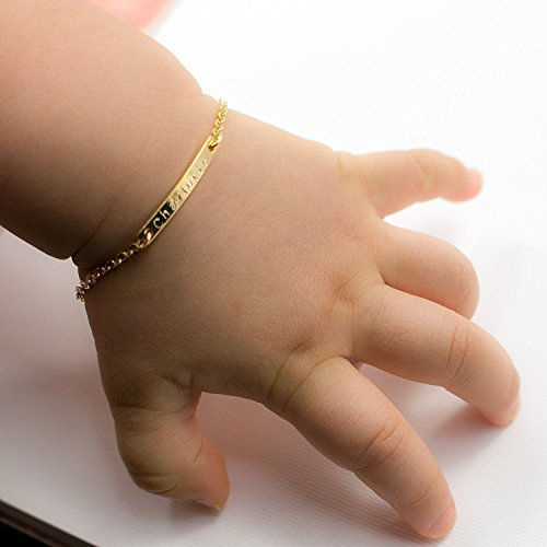 Personalize A Dainty Baby Name Bar Bracelet 16k Gold Silver Rose Gold -Plated Dainty Machine Engraving New Born to Children gift and First Birthday Baby shower Gift Best Graduation Day gift (Baby Gold Bracelet)