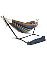 SueSport Double Hammock with Space Saving Steel Stand Include...