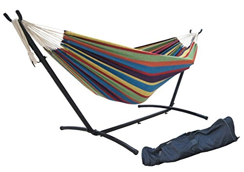 SueSport Double Hammock with Space Saving Steel Stand Includes Portable Carrying Case, Tropical