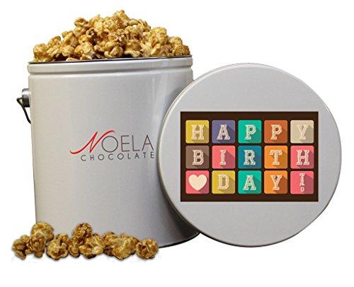 Noela Chocolate Gourmet Popcorn 1 Gallon tin Caramel Happy Birthday Present