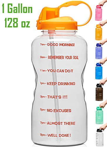 (Venture Pal Large 1 Gallon/128 OZ Motivational BPA Free Leakproof Water Bottle with Straw & Time Marker Perfect for Fitness Gym Camping Outdoor Sports-Clear Orange)