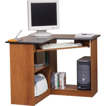 - Classic Wooden Corner Computer Workstation, Space Saving Organizer, Work and Study Table, Durable Furniture suitable for Home and Office use, Available in Oak Finish (35.50