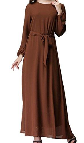 Casuale donne Vita Abiti Abaya Coolred Cravatta Spostamento Brownness Di Chiffon Dimensioni Grandi O6x1wg1q