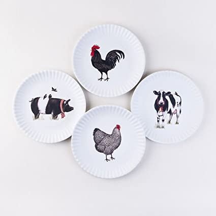 "One Hundred 80 Degrees Farmhouse Animals Melamine ""Paper"" Plates, 9 Inch, Set of 4"
