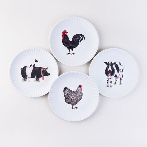 One Hundred 80 Degrees Farmhouse Animals Melamine : reusable paper plates - pezcame.com