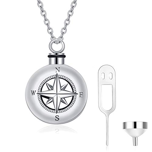 Angel caller Compass Necklace for Unisex,Women,Girls Sterling Silver Vintage Nautical Compass Urn Pendant Necklace for Ashes 18