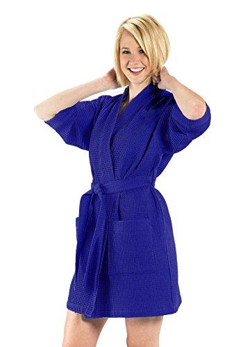Kimono Waffle Lightweight Robe, 60% Cotton, One Size, Navy