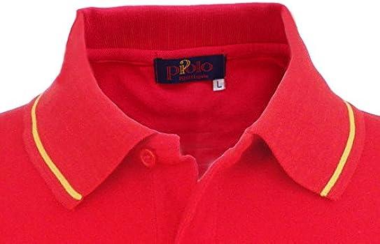 Pi2010 - Polo España Hombre con Bandera en Cuello y Mangas, Rojo ...