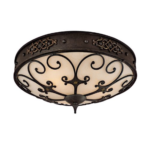 Capital Lighting 2287RI River Crest Collection 3-Light Flush Mount, Rustic Iron Finish with Rust Scavo - Rust 3 Bulbs Finish