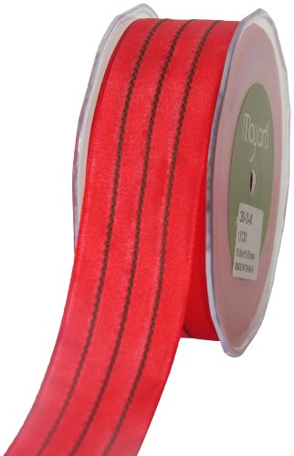 (May Arts 1-1/2-Inch Wide Ribbon, Red Solid with Green)