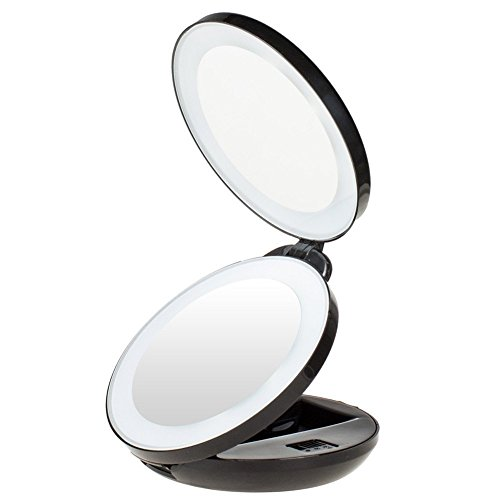 KEDSUM 1X/10X Double Sided LED Lighted Makeup Mirror- Compact Folding Vanity and Travel Mirror (Black)