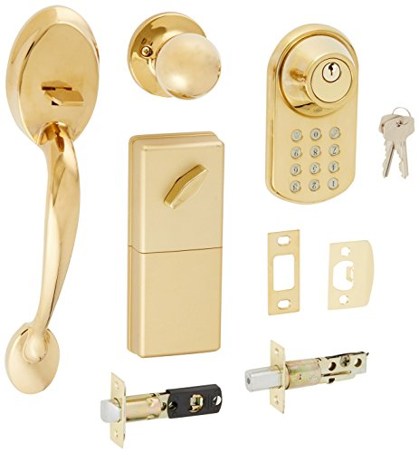 MiLocks BTF-02P Digital Deadbolt Door Lock and Passage Handle Set Combo with Keyless Entry via Keypad Code for Exterior Doors, Polished Brass MiProducts Corporation