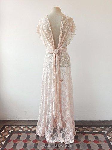 Bohemian separates, lace cover wedding dress, rose quartz lace dress, unlined lace dress, bridal separates, lace overdress wedding, lace dress by Mimètik Bcn