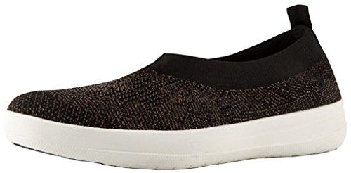 On Slip Bronze (FitFlop Womens Uberknit Slip On Black/Bronze Metallic Sneaker - 9)
