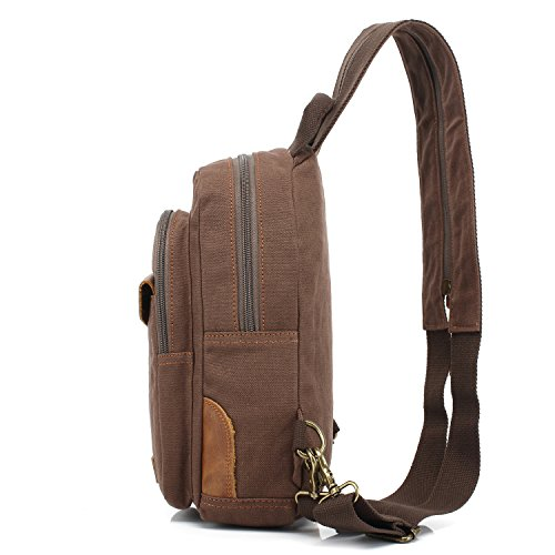 Canvas Coffee Women's Small Men's Shoulder Chest Sling Pack Backpack Bag Leisure Handbag coffee q1Fx7axE