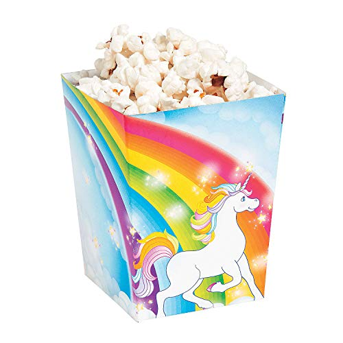 Fun Express Cardboard Unicorn Popcorn Boxes | 24-Pack | Great for Unicorn-Themed Parties/Movie Nights