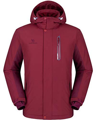 (CAMEL CROWN Ski Jacket Men Waterproof Warm Cotton Winter Snow Coat Mountain Snowboard Windbreaker Hooded Raincoat Wine Red L)