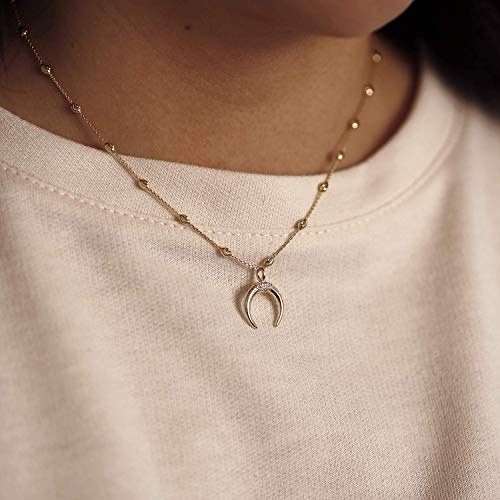 14K Solid Gold Double Horn Diamond Necklace Horn Charm Pendant Moon Necklace Crescent Necklace Tusk Necklace Bead Chain or Rolo ()