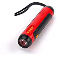 iRonsnow IS-066 Emergency Dynamo Crank LED Flashlight with 1800mAh Power Bank, Mini RechargeableFM Radio, SOS Alarm Survival Kit for Travel Camping Hurricane (Red)