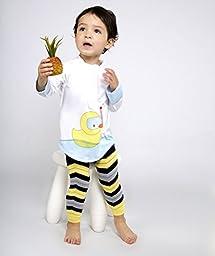 Baby Leggings Set of 3 - Bruce\'s Black and Yellow Chevron, Stripe, Pirate Skull