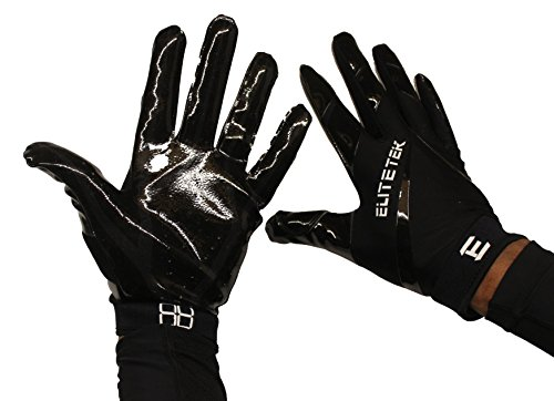EliteTek RG-14 Football Gloves Youth and Adult (Black/Black, Youth XXS)