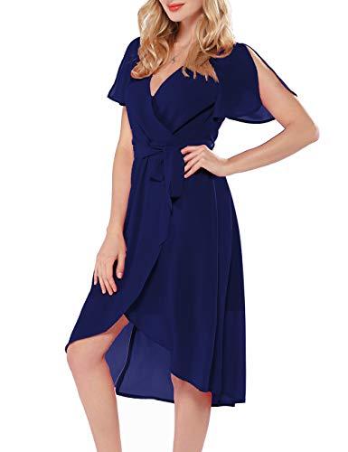 Little Wrap Dress - Azalosie Women Wrap Midi Dress V Neck Short Sleeve Tie Waist High Low Flowy Slit Dress Summer Beach Wedding Maxi Dress Navy Blue