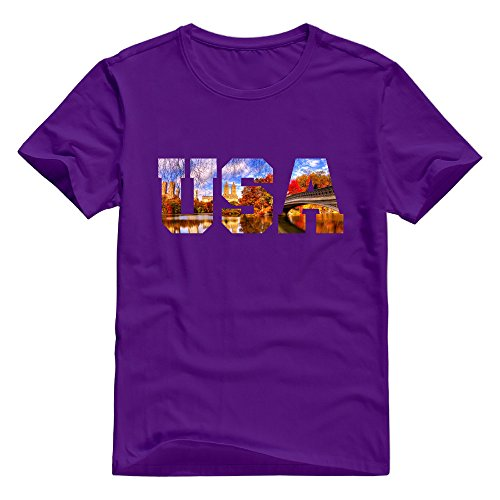KST Men's USA United States Central Park 100% Cotton Short Sleeve Artist Letter T-Shirt Purple Size XL
