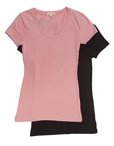 06ed64f3b0acf7 2 Pack Zenana Women s Basic Scoop Neck T-Shirt Large Black