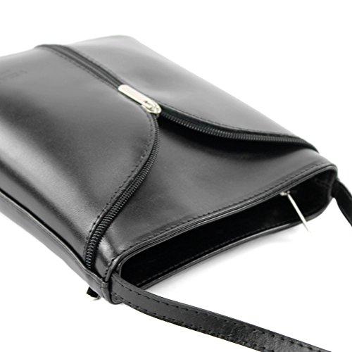 ModaModa de–Italiana. Piel Mujer Bolso de mano bolsa de hombro Girl Kleine Bandolera D19 negro
