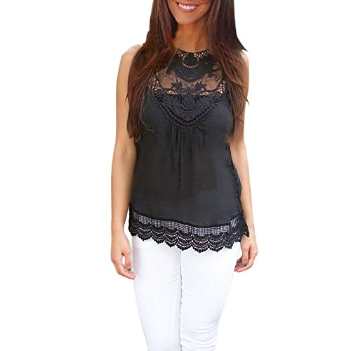 Forthery Summer Women's Flowy Racerback Tank Tops Basic Lace Hollow Out Camisole Tunic Tops (Black, S)
